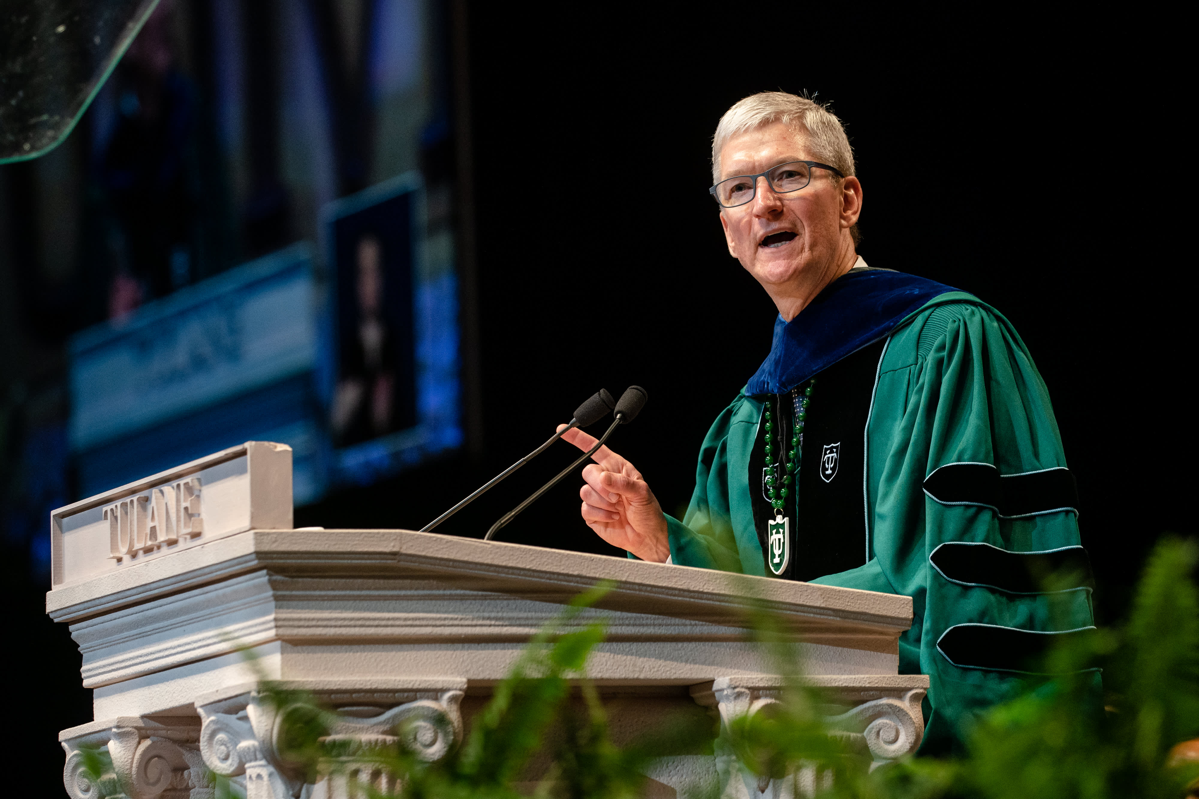 Apple CEO Tim Cook addresses Tulane University graduates at Commencement 2019 at Mercedes-Benz Superdome on May 18, 2019 in New Orleans, Louisiana.