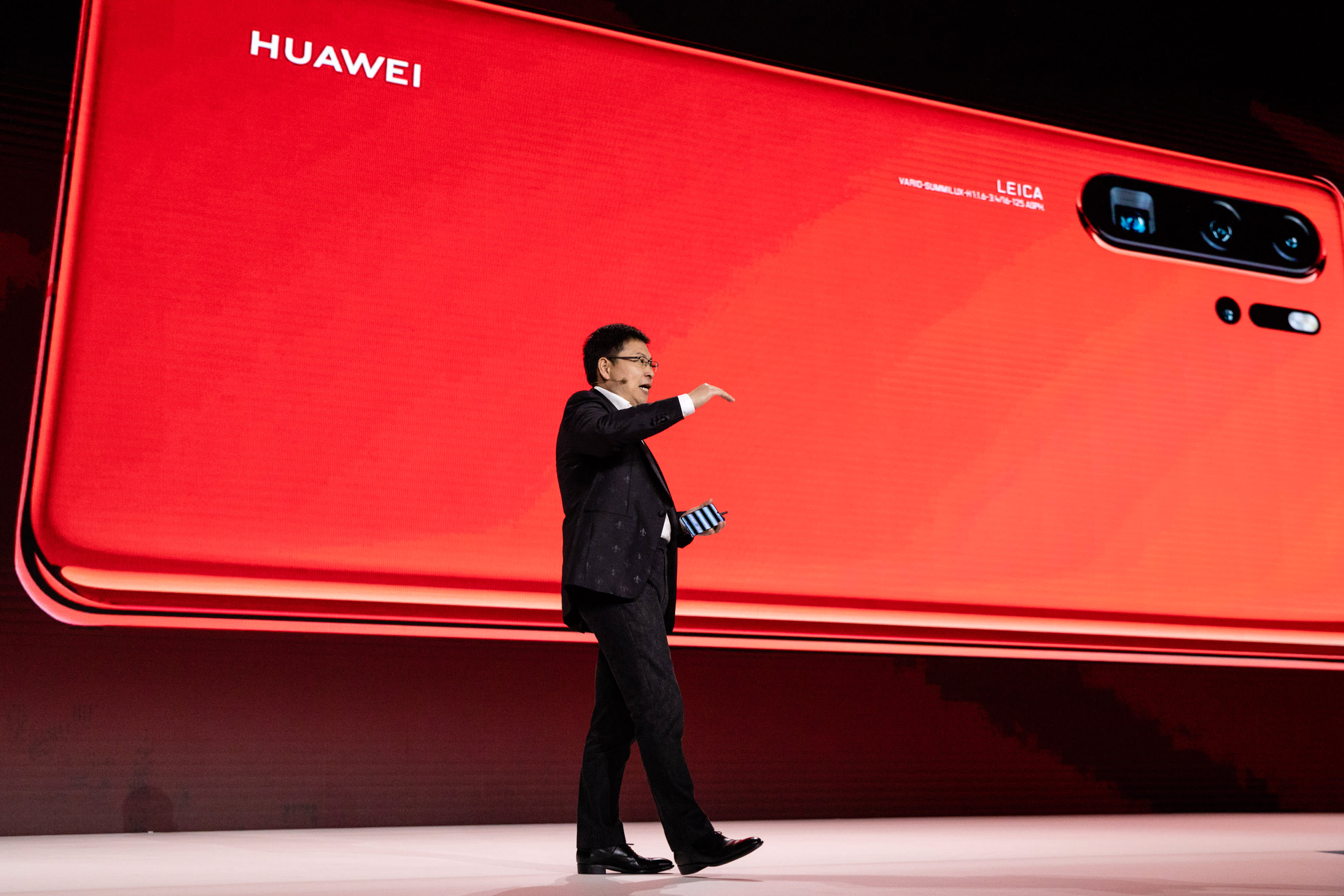 Richard Yu, chief executive officer of Huawei Technologies Co., speaks as he presents the P30 series smartphone during a Huawei Technologies Co. launch event in Paris, France, on Tuesday, March 26, 2019.