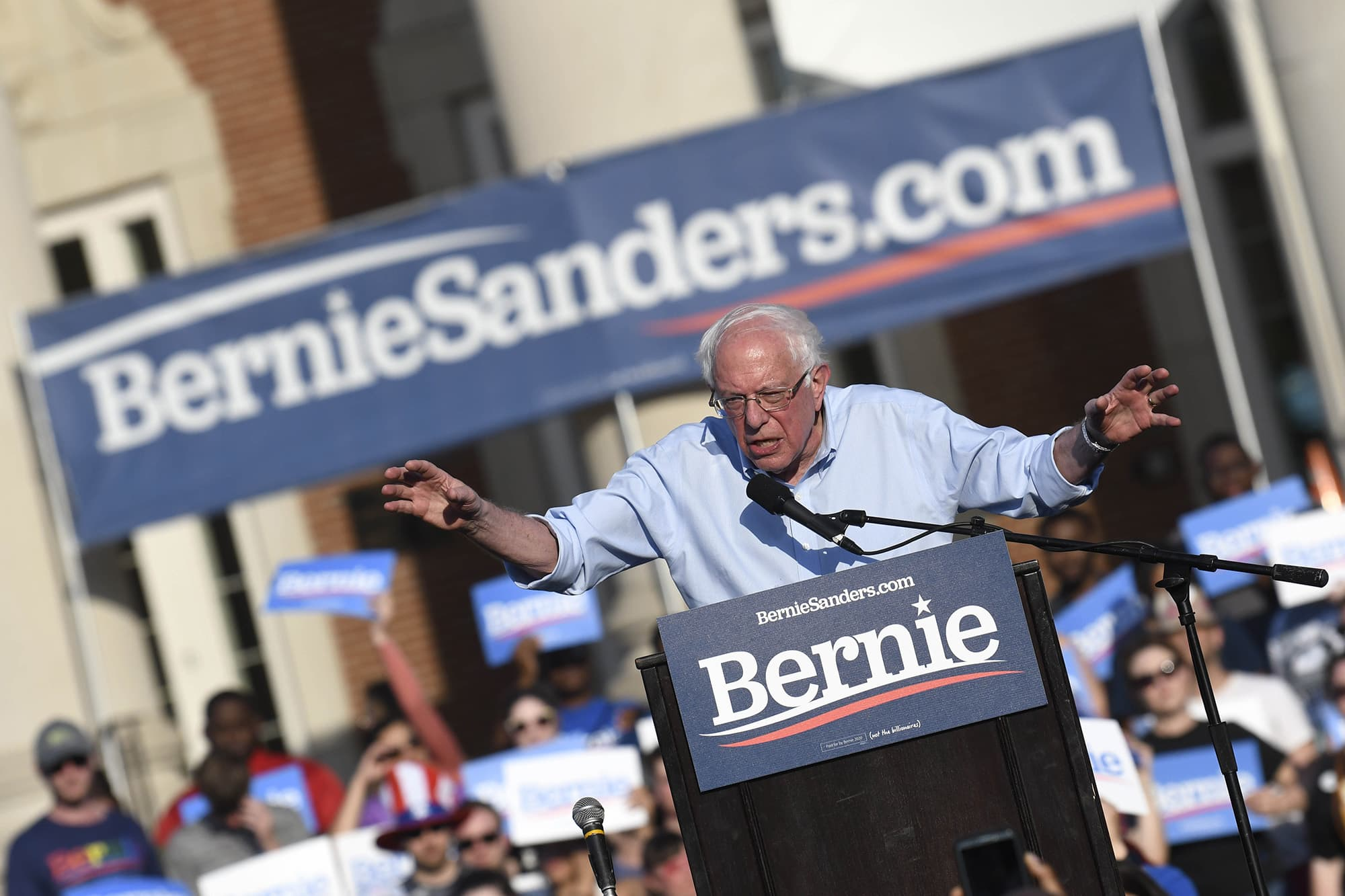Sen. Bernie Sanders of Vermont holds a rally at Central Piedmont Community College on the lawn of Overcash Center in Charlotte, N.C., on Friday, May 17, 2019. (David T. Foster III/Charlotte Observer/TNS via Getty Images)