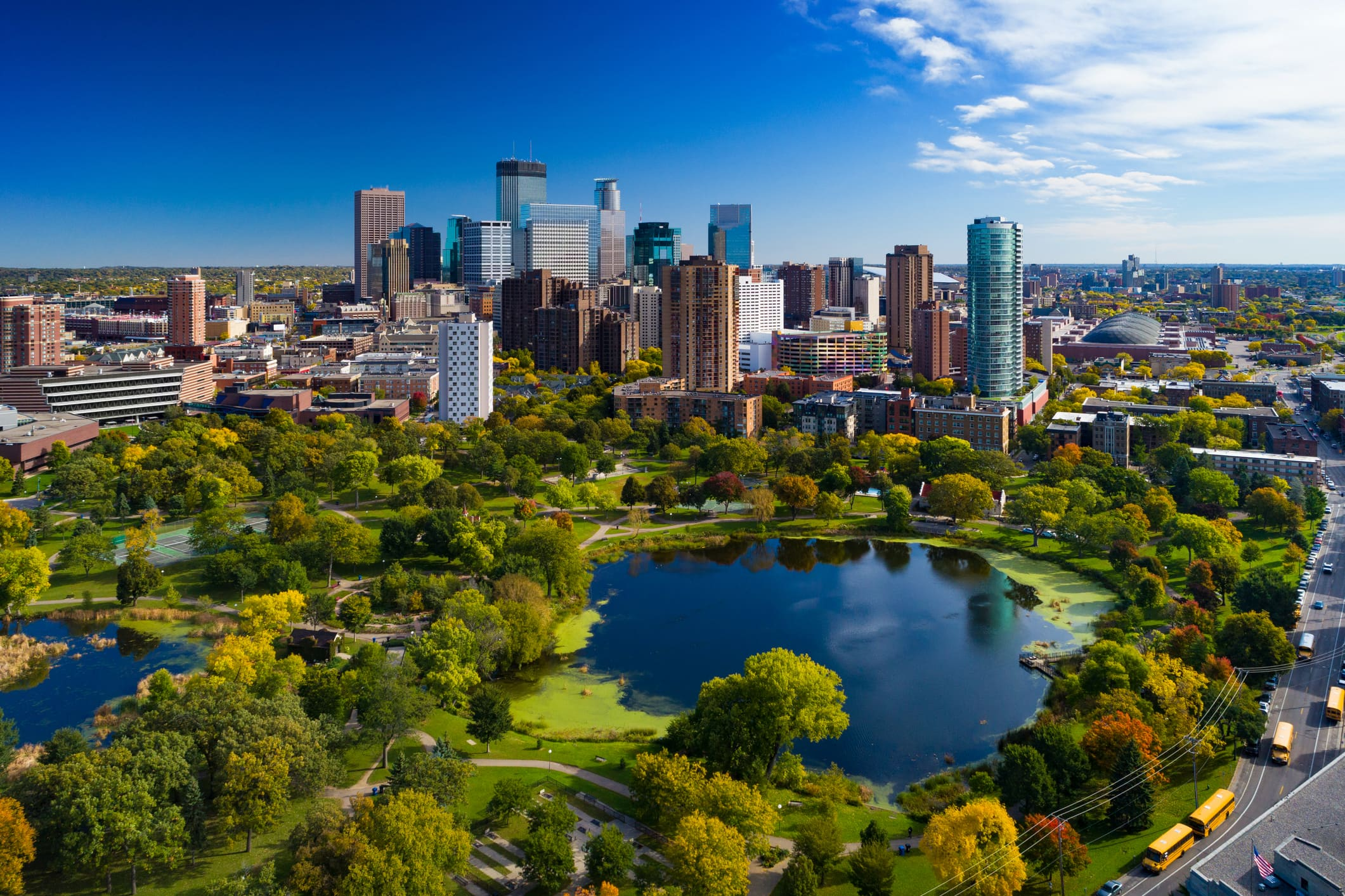 An aerial view of the downtown Minneapolis skyline and Loring Park.