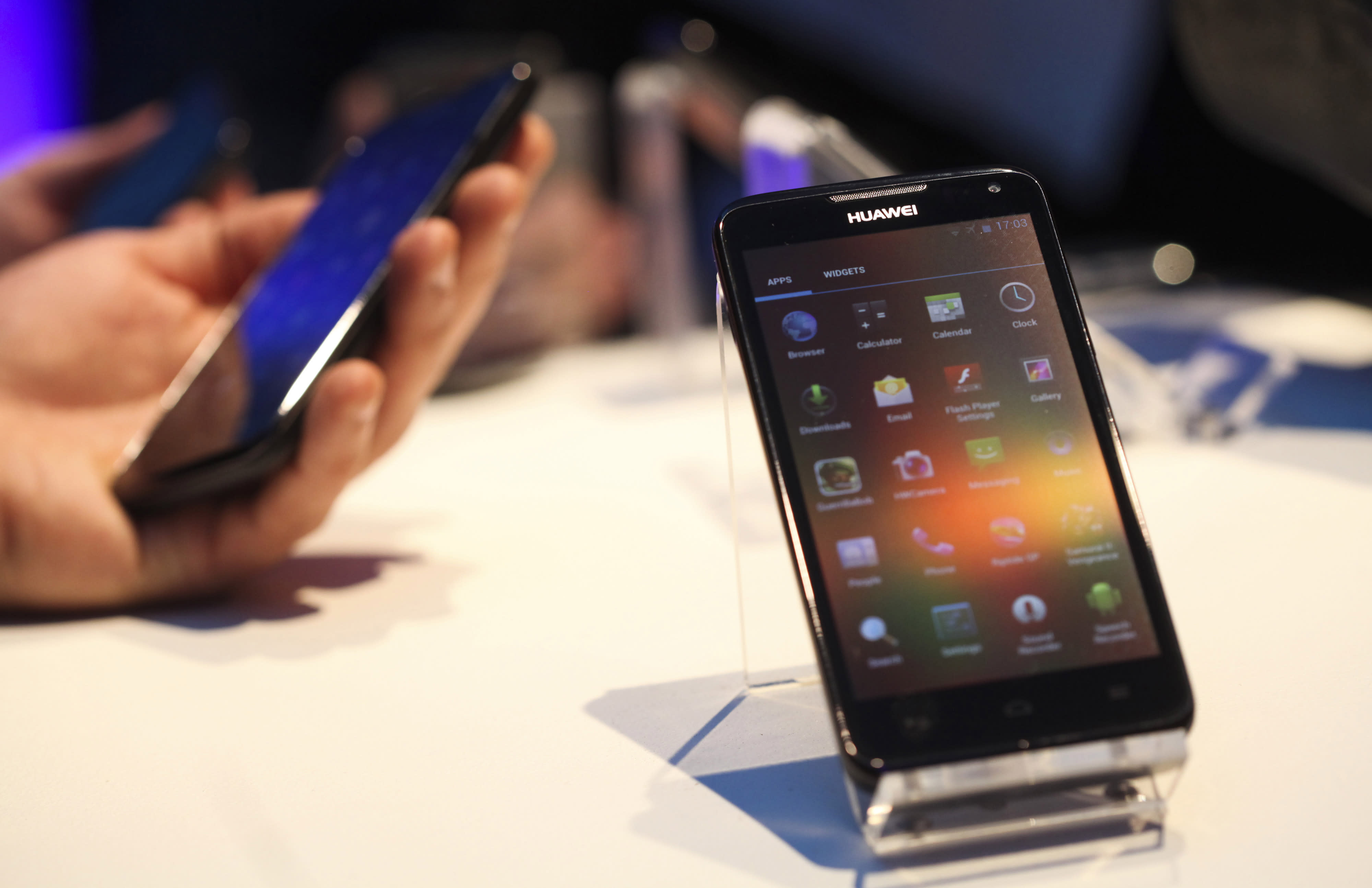 A Huawei Technologies Co. mobile phone, which runs on the Android operating system.