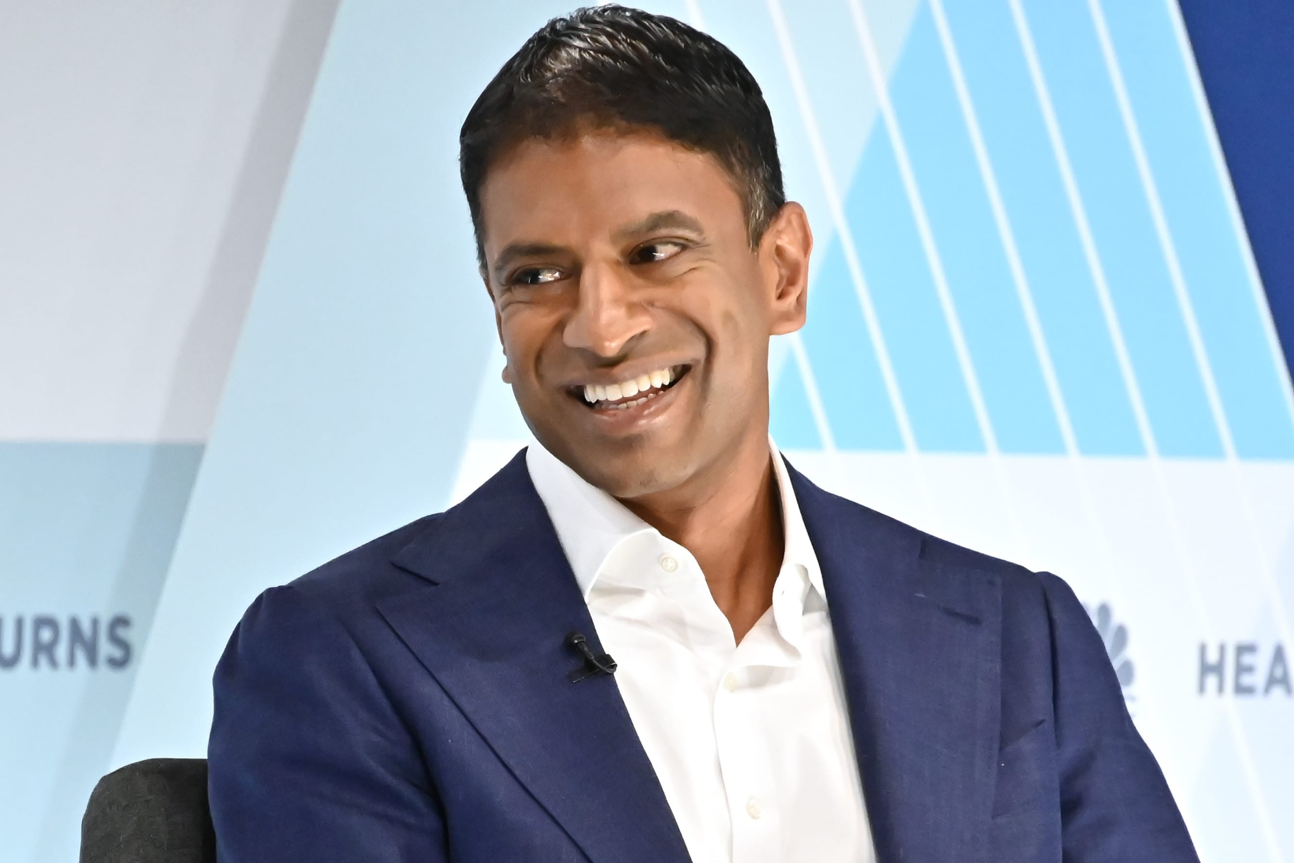 Dr. Vasant Narasimhan, CEO of Novartis, speaking at the Healthy Returns conference in New York City on May 21, 2019.