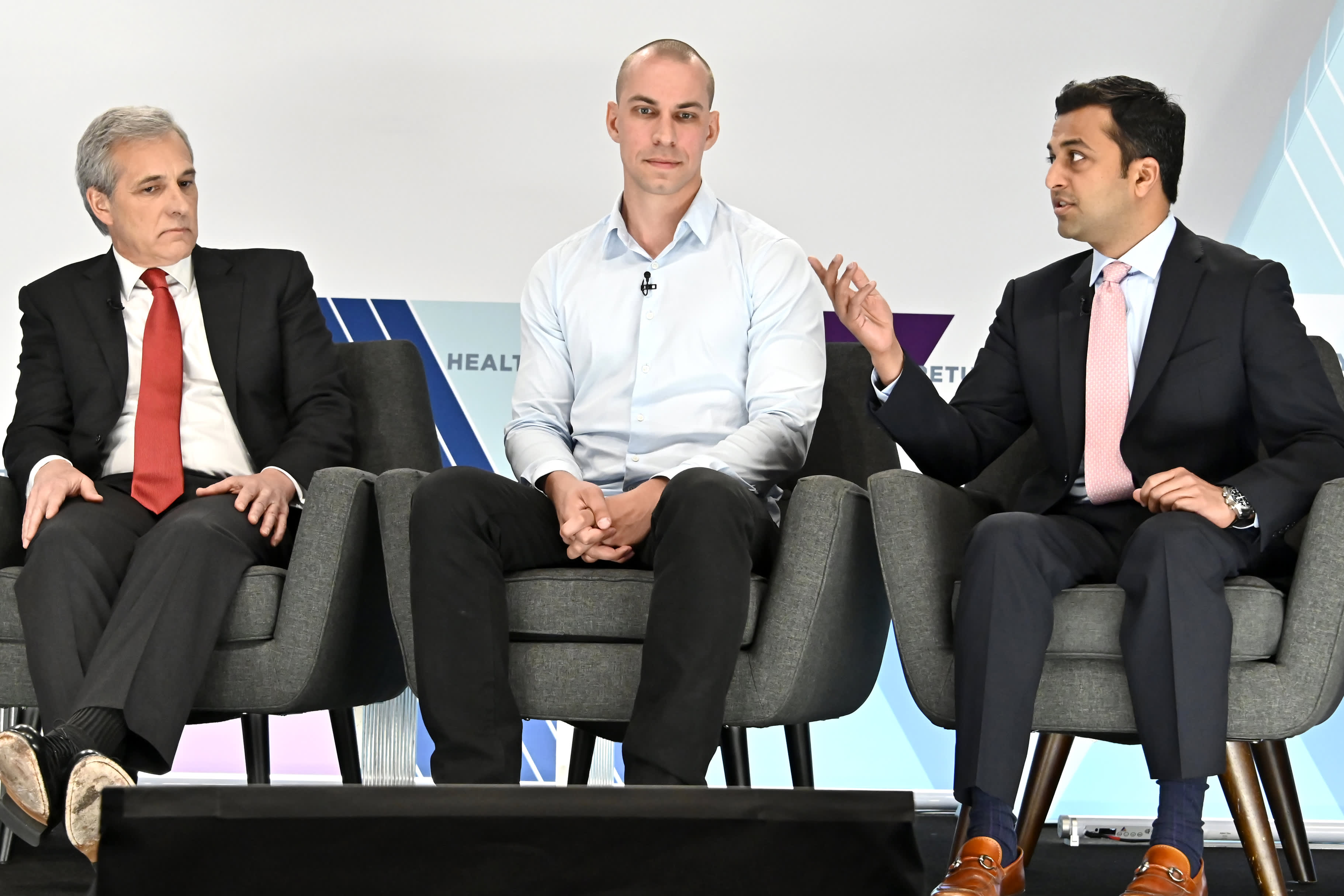 "Dr. William Hurlbut, Paul Dabrowski and Dr. Samarth Kulkarni during a panel discussion "" Genetics, CRISPR and Medical Ethics"" at the CNBC Healthy Returns conference in New York on May 21, 2019."