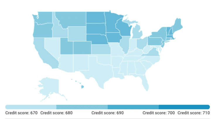 Is 680 A Good Credit Score >> Americans Average Credit Score In Every State