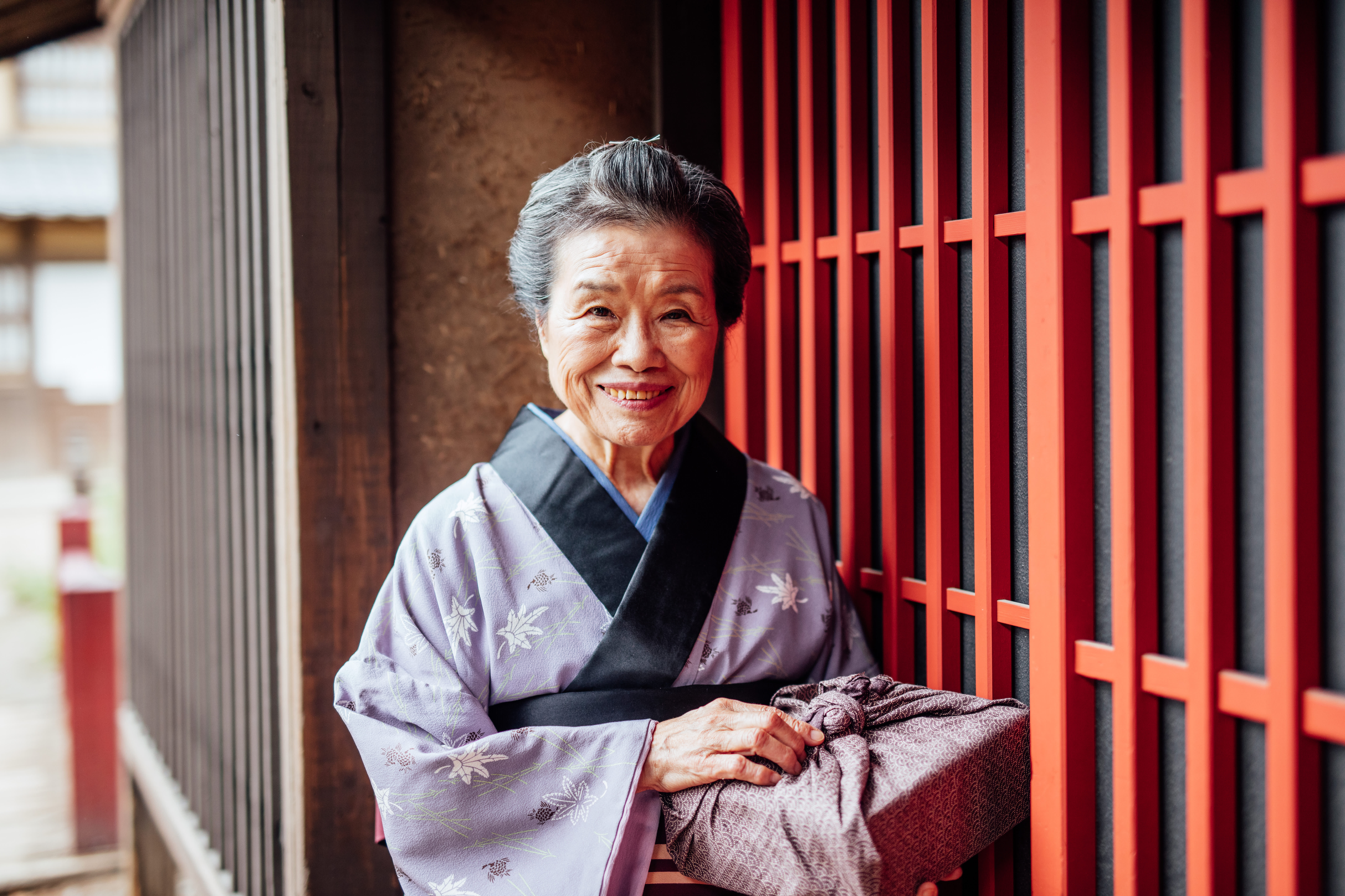 Smiling Japanese elder