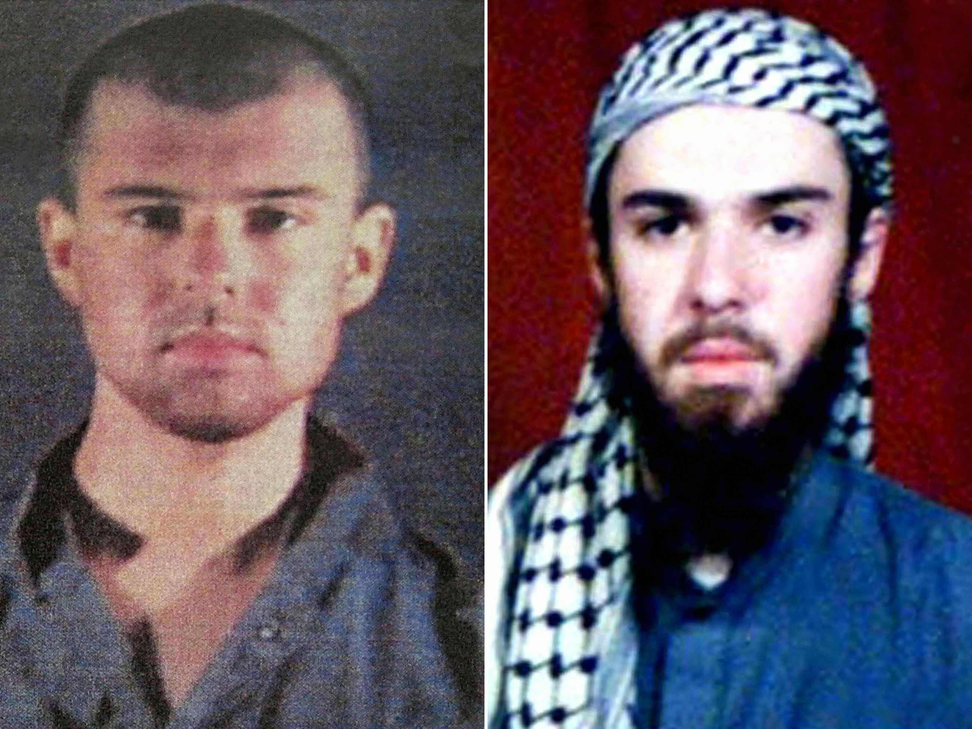 "This combination of pictures created on April 17, 2019 shows at left a police file photo made available February 6, 2002 of the ""American Taliban"" John Walker Lindh and at right a February 11, 2002 photograph of him as seen from the records of the Arabia Hassani Kalan Surani Bannu madrassa (religious school) in Pakistan's northwestern city of Bannu. - John Walker Lindh, an American captured with the Taliban in November 2001 just weeks after the US launched the war in Afghanistan, is to be released in May 2019 after 17 years in prison."