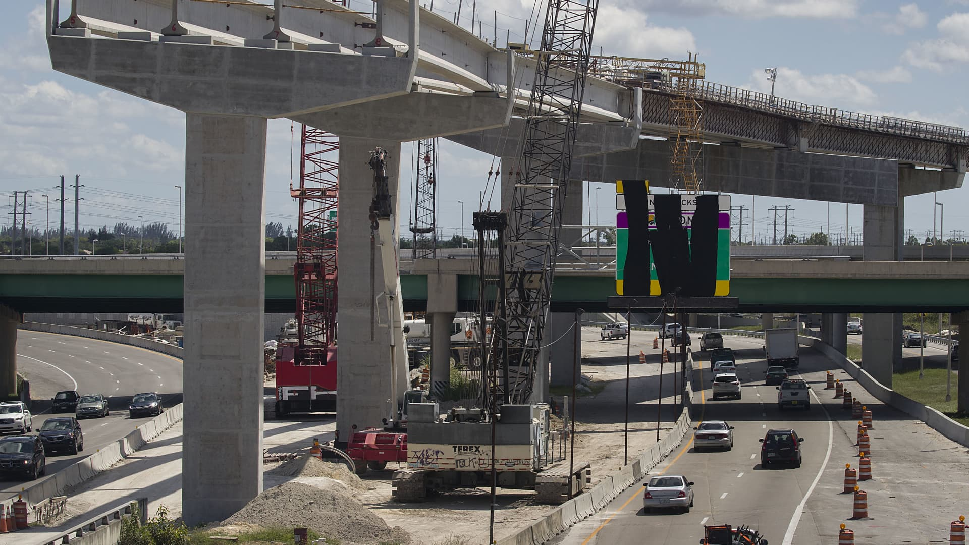 A Florida Turnpike interchange construction site is seen on May 22, 2019 in Miami, Florida.