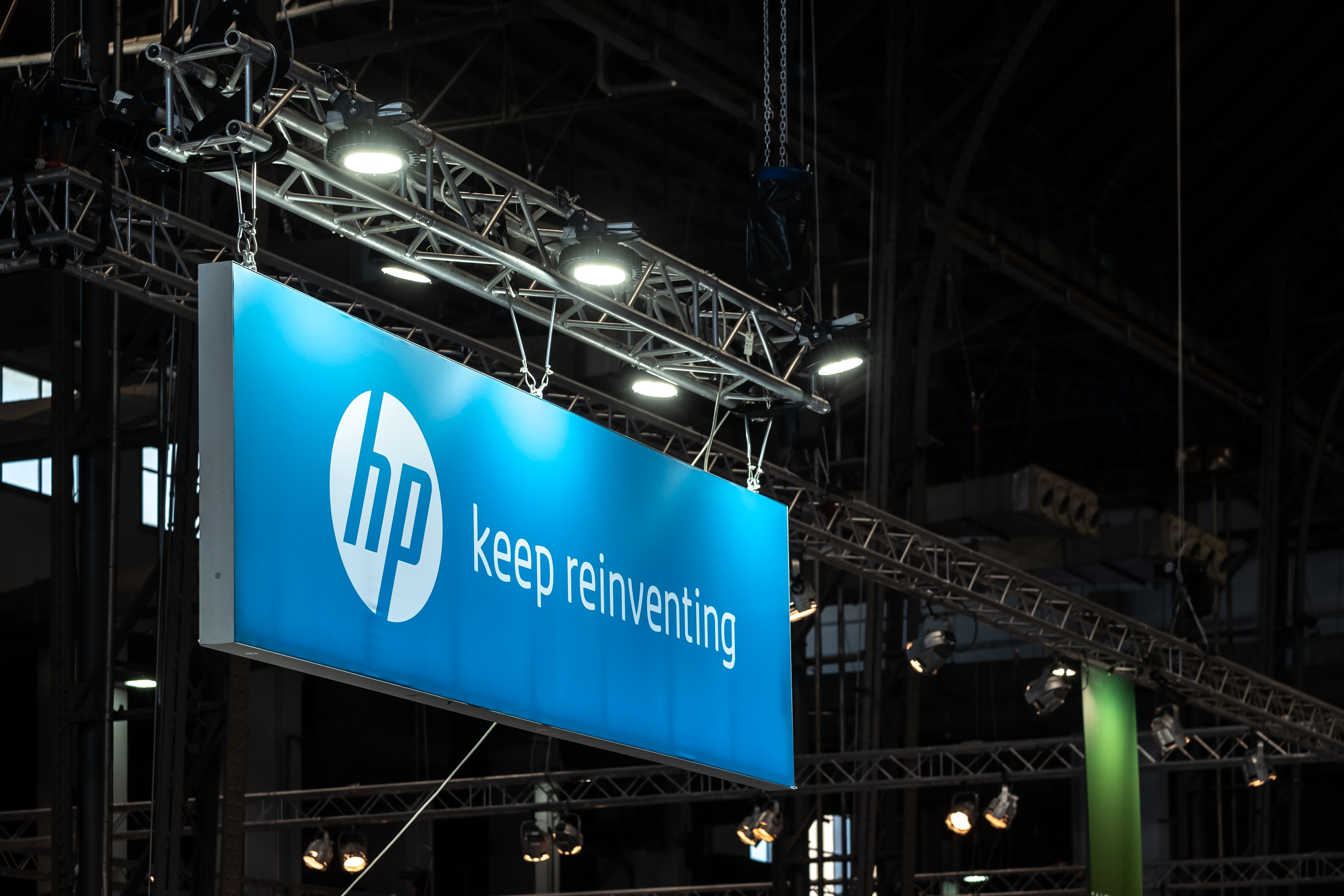 The logo of the 3D printer manufacturer HP is seen during the event. Feria de Barcelona hosts the third edition of the (3D) industry week.