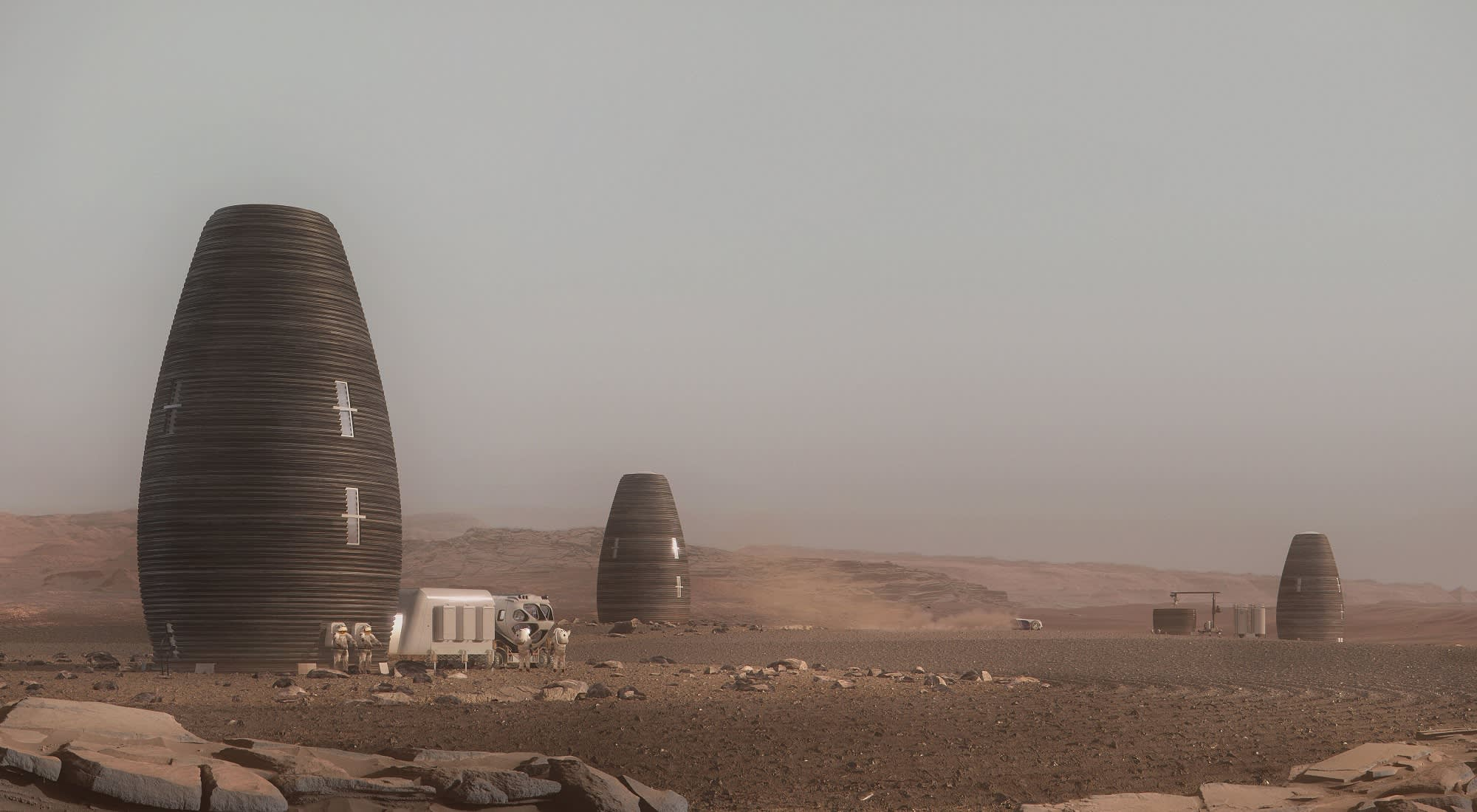A concept illustration of vertical pod Mars habitats designed by AI SpaceFactory for a NASA competition.