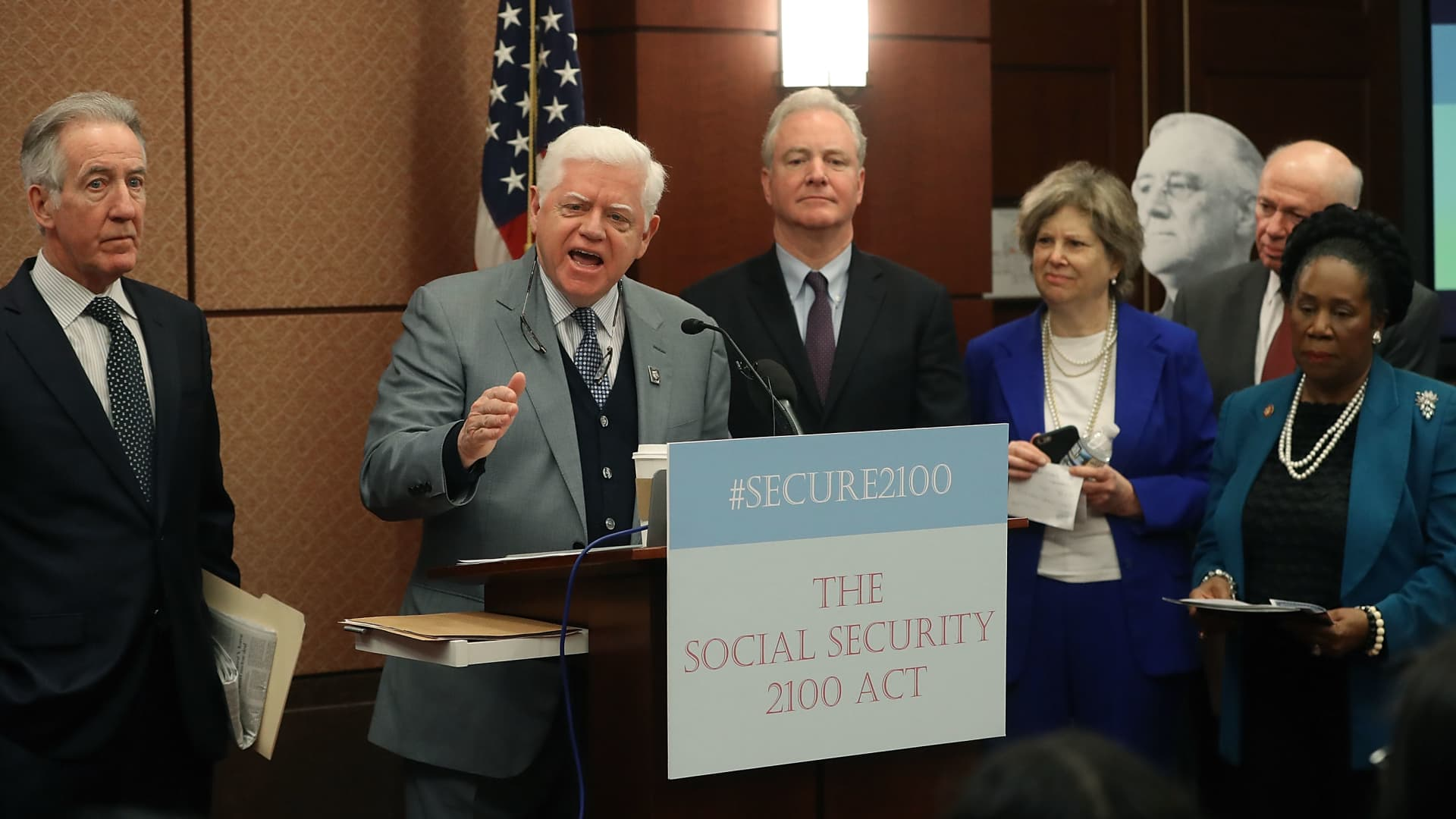 Rep. John Larson, D-Conn., speaks during an event to introduce legislation called the Social Security 2100 Act. which would increase increase benefits and strengthen the fund, on Capitol Hill on Jan. 30, 2019.
