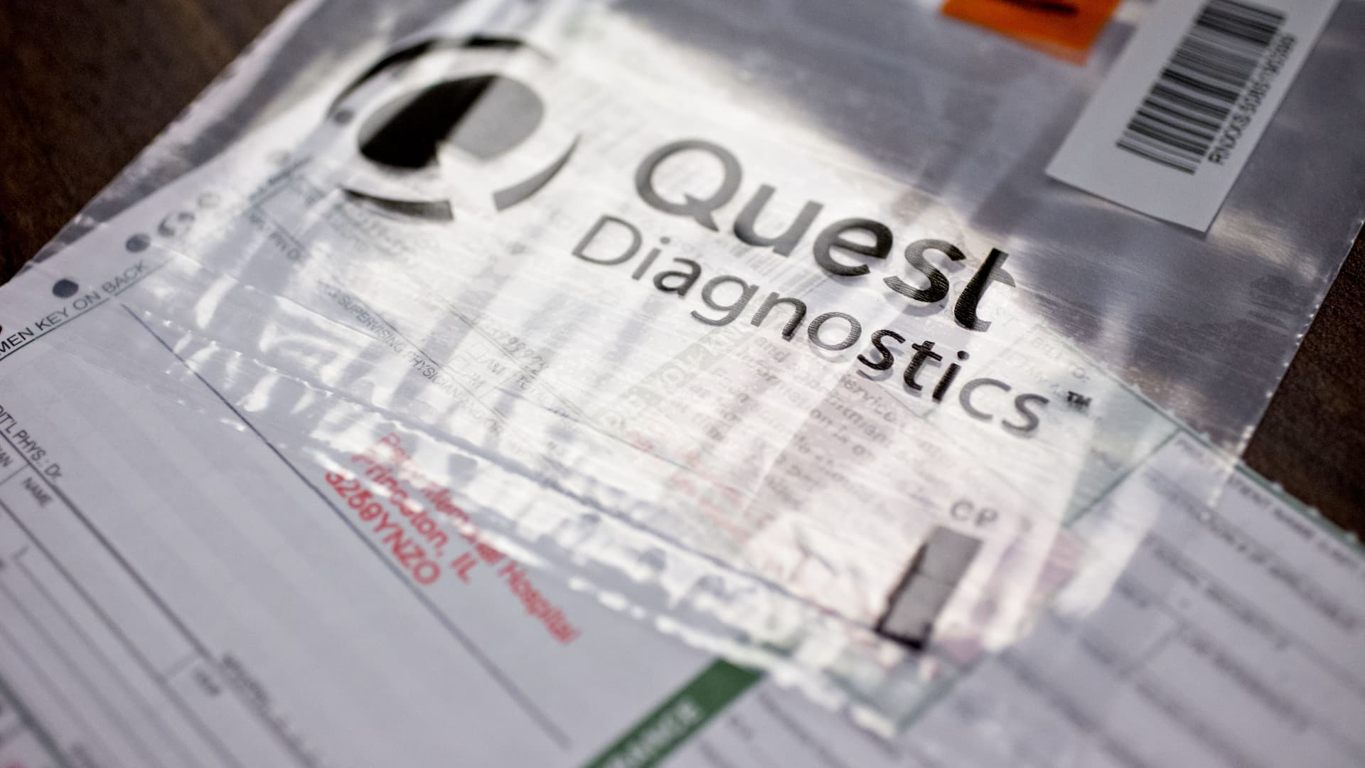 A Quest Diagnostics requisition form is displayed for a photograph at Perry Memorial Hospital in Princeton, Illinois, U.S..