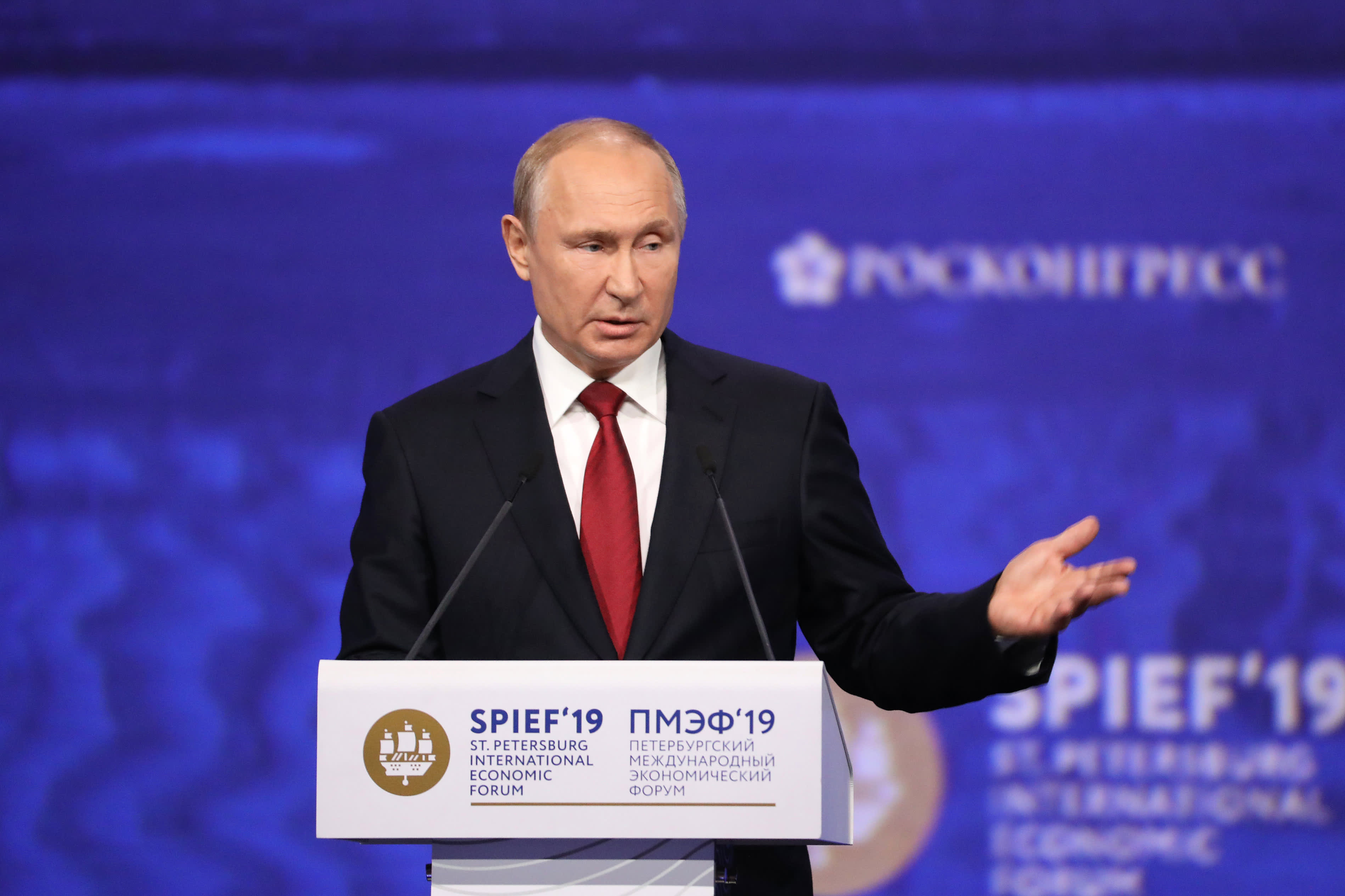 Russia's Putin says Huawei is being unceremoniously pushed out of the global market