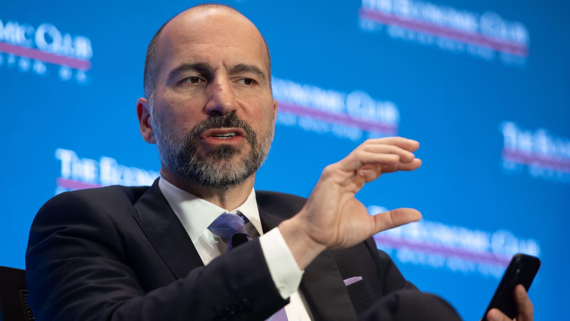 Dara Khosrowshahi, CEO of Uber Technologies, speaks during an Economic Club of Washington event in Washington, DC, June 11, 2019.
