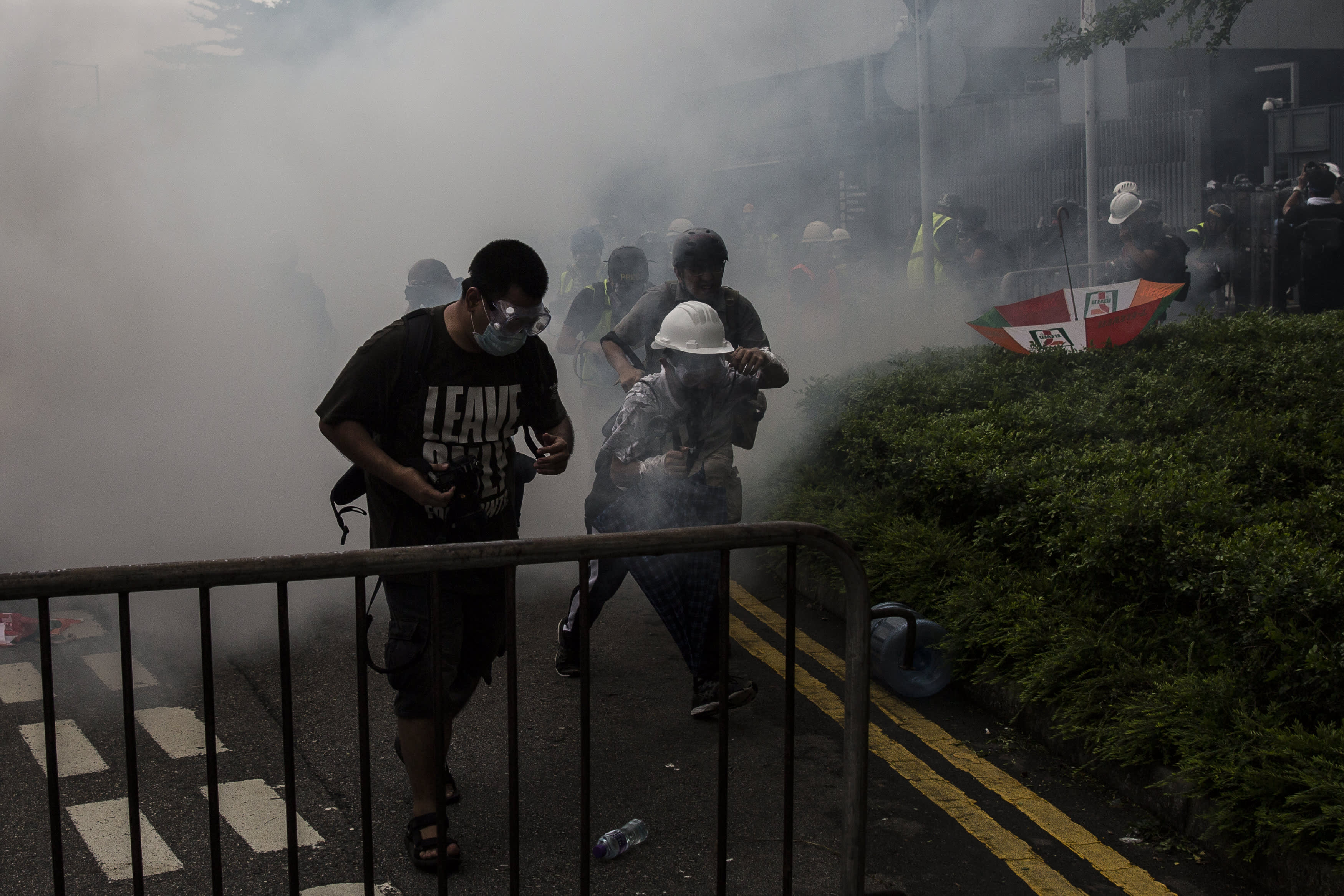 Police repeatedly fire tear gas on protesters as confrontation turns violent in Hong Kong