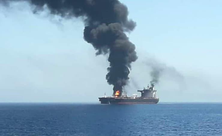 AP: Oil tanker on fire Gulf of Oman 190613