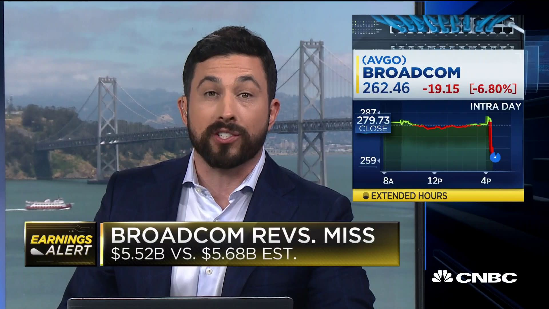 Broadcom falls after slashing revenue guidance