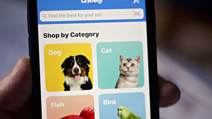 Chewy com, PetSmart's online business, prices IPO at $22 a share