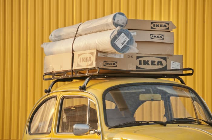 GP: Ikea Boxes at the top of a car