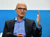 Microsoft CEO Satya Nadella speaks at a fireside chat with the CEO of German carmaker Volkswagen (unseen) where they unveiled their cooperation for the Volkswagen Automotive Cloud in Berlin on February 27, 2019.