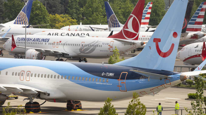 GP: Boeing 737 Max Planes Sit Parked At Boeing Field In Seattle, Washington