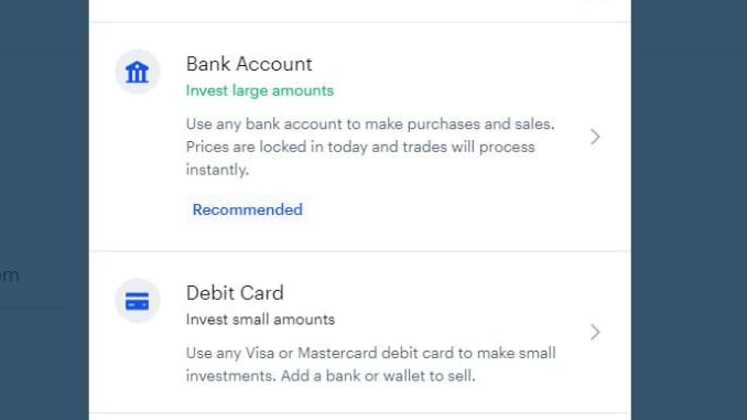 Add a bank account or debit card to buy bitcoin in Coinbase.