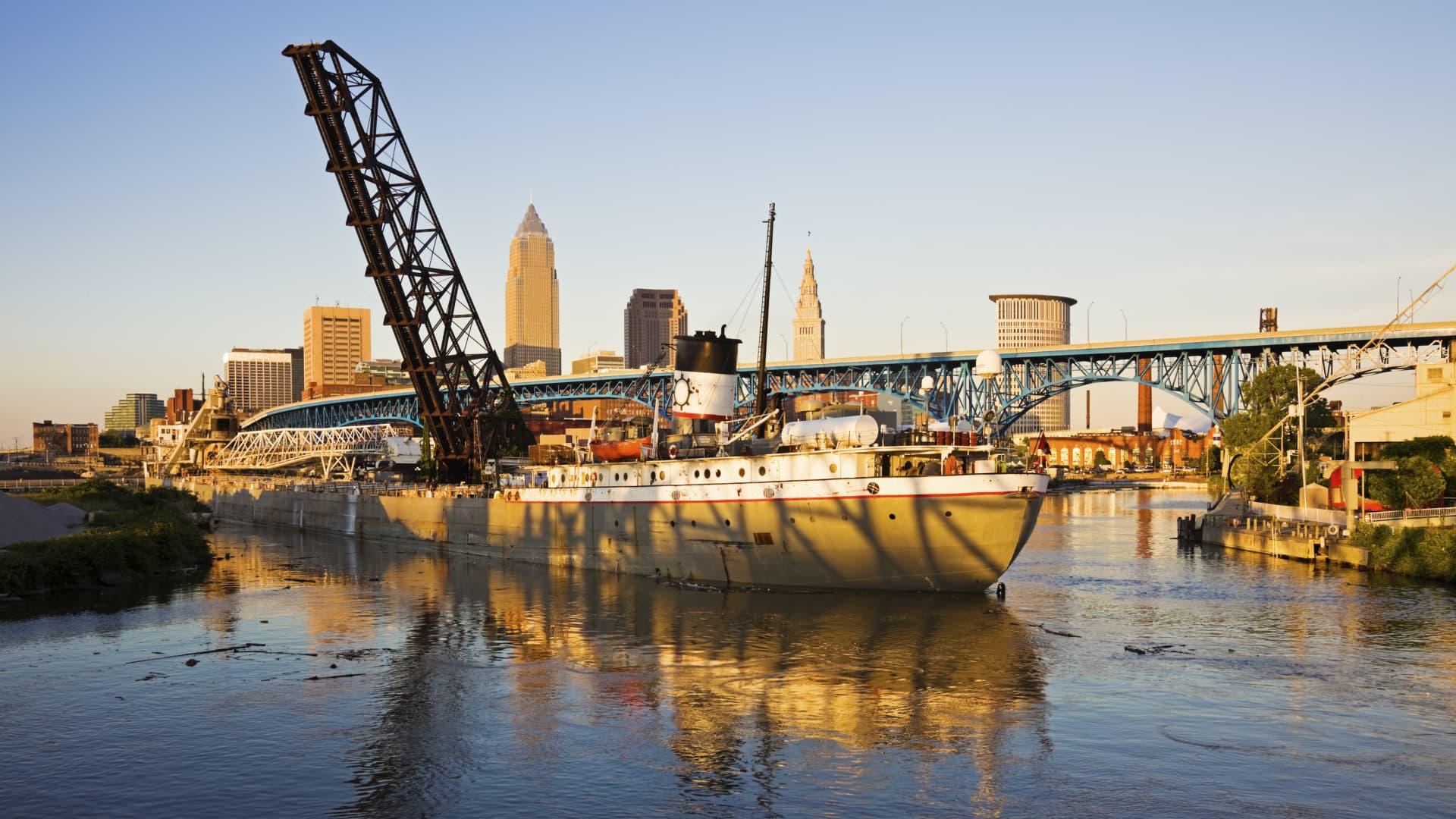 Large ship entering the port of Cleveland. Cleveland, Ohio.