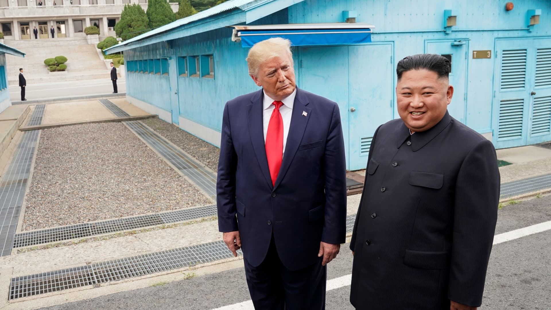 President Donald Trump meets with North Korean leader Kim Jong Un at the demilitarized zone separating the two Koreas, in Panmunjom, South Korea, June 30, 2019.