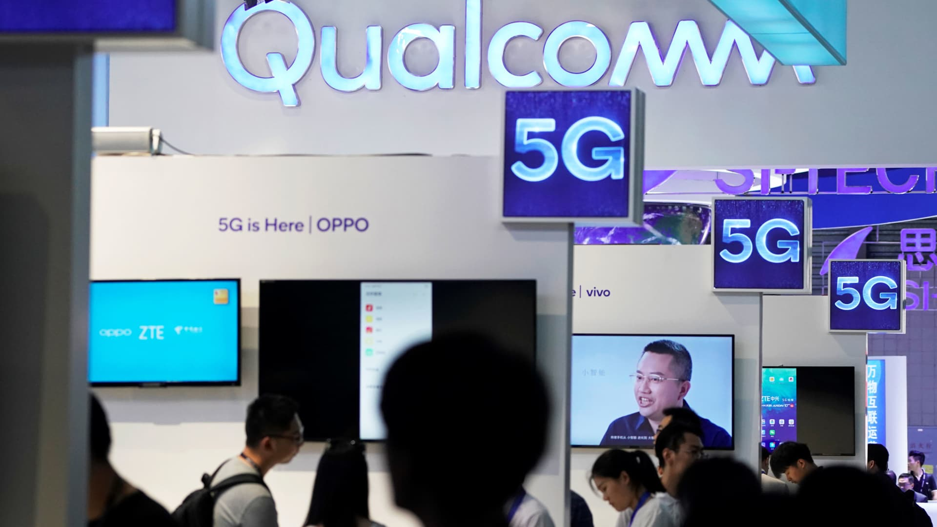Signs of Qualcomm and 5G are pictured at Mobile World Congress (MWC) in Shanghai, China June 28, 2019.