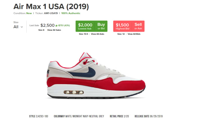 b96b1af51c5 Nike's 'Betsy Ross' sneakers sell for more than $2,000 on StockX