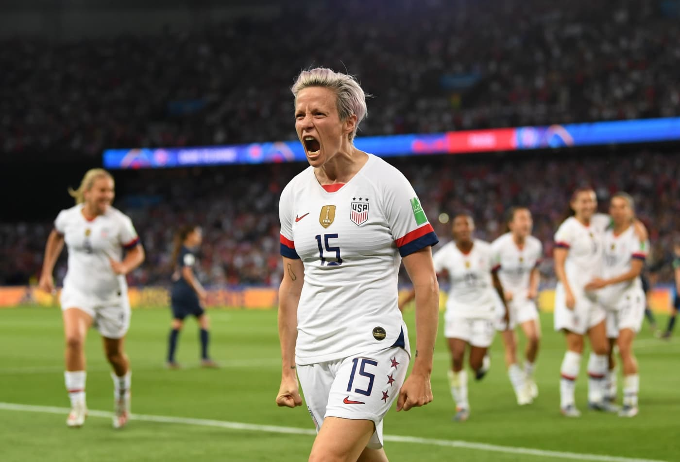 megan rapinoe 15 of the united states celebrates scoring during the 2019 fifa women s world cup france quarter final match between france and the united