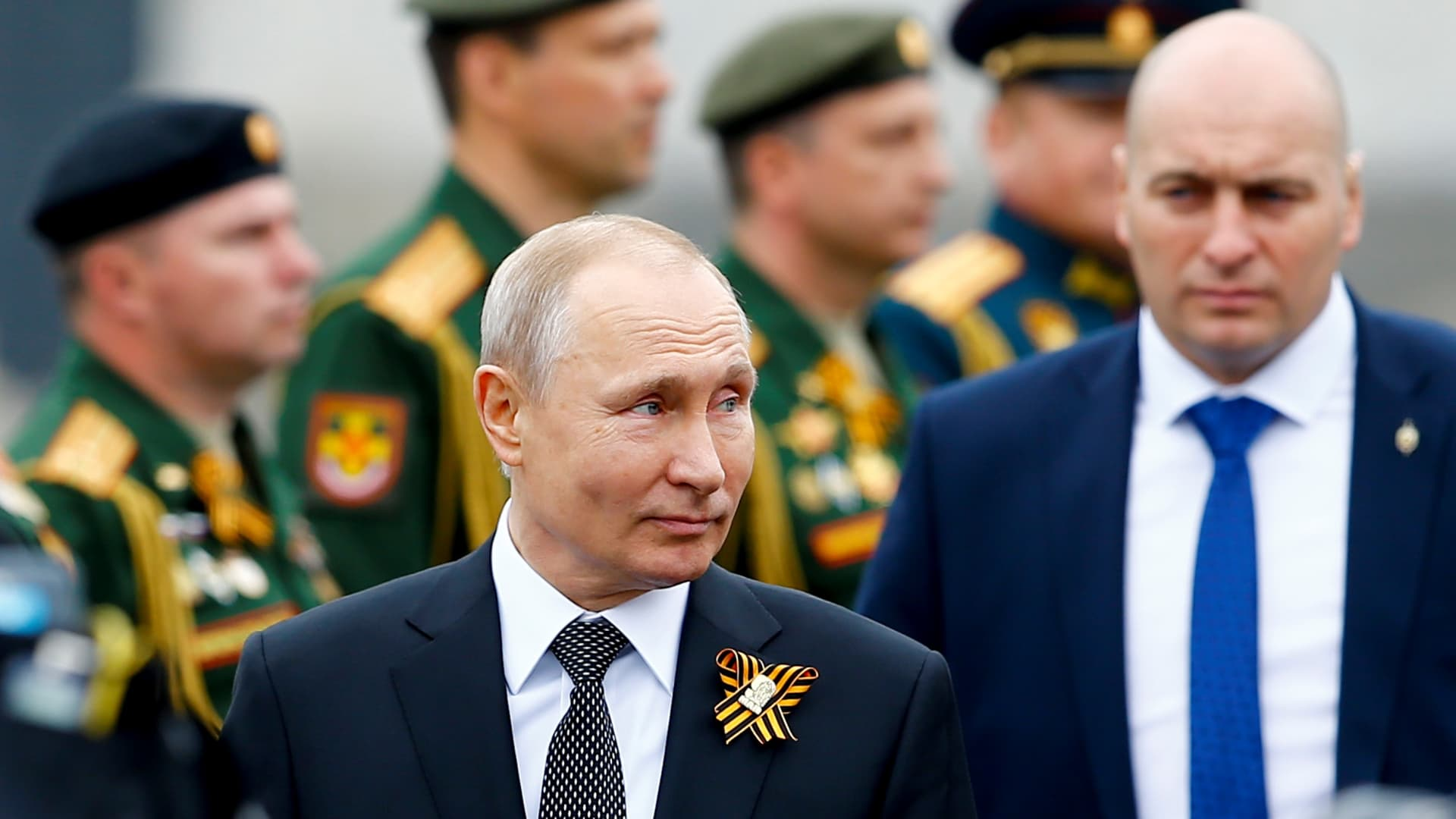 Russian President Vladimir Putin attends a Victory Day military parade marking the 74th anniversary of the end of World War II.