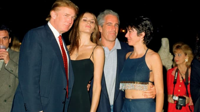 From left, Donald Trump and his girlfriend (and future wife), former model Melania Knauss, financier (and future convicted sex offender) Jeffrey Epstein, and British socialite Ghislaine Maxwell pose together at the Mar-a-Lago club in Palm Beach, Florida o