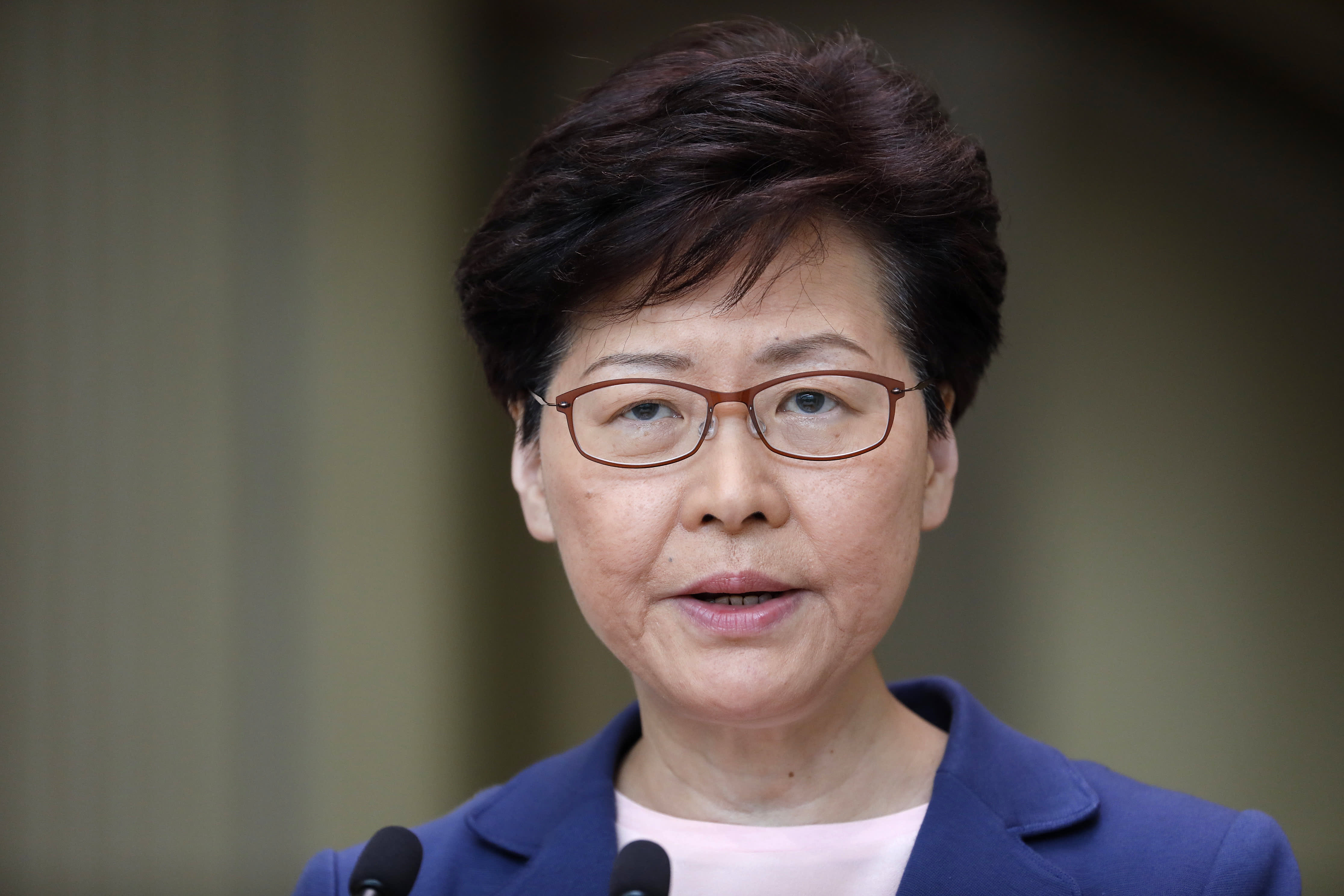 Hong Kong's leader says the city is verging on 'a very dangerous situation'