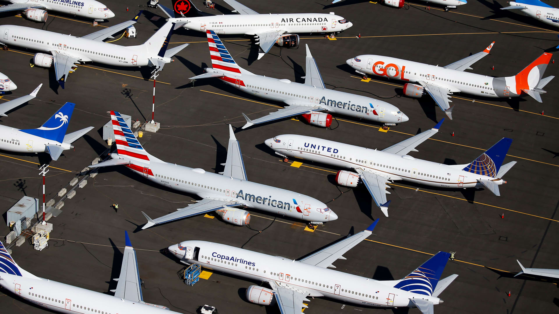 Grounded Boeing 737 MAX aircraft are seen parked in an aerial photo at Boeing Field in Seattle, Washington, July 1, 2019.