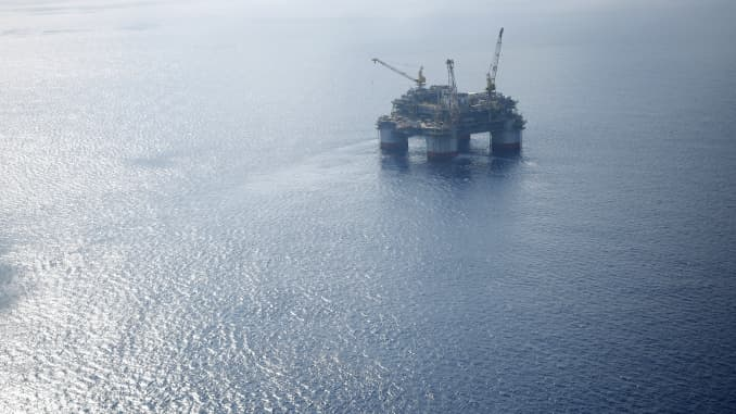 This is a file photo showing Chevron Corp. Jack/St. Malo deepwater oil platform stands in the Gulf of Mexico in the aerial photograph taken off the coast of Louisiana, on Friday, May 18, 2018.
