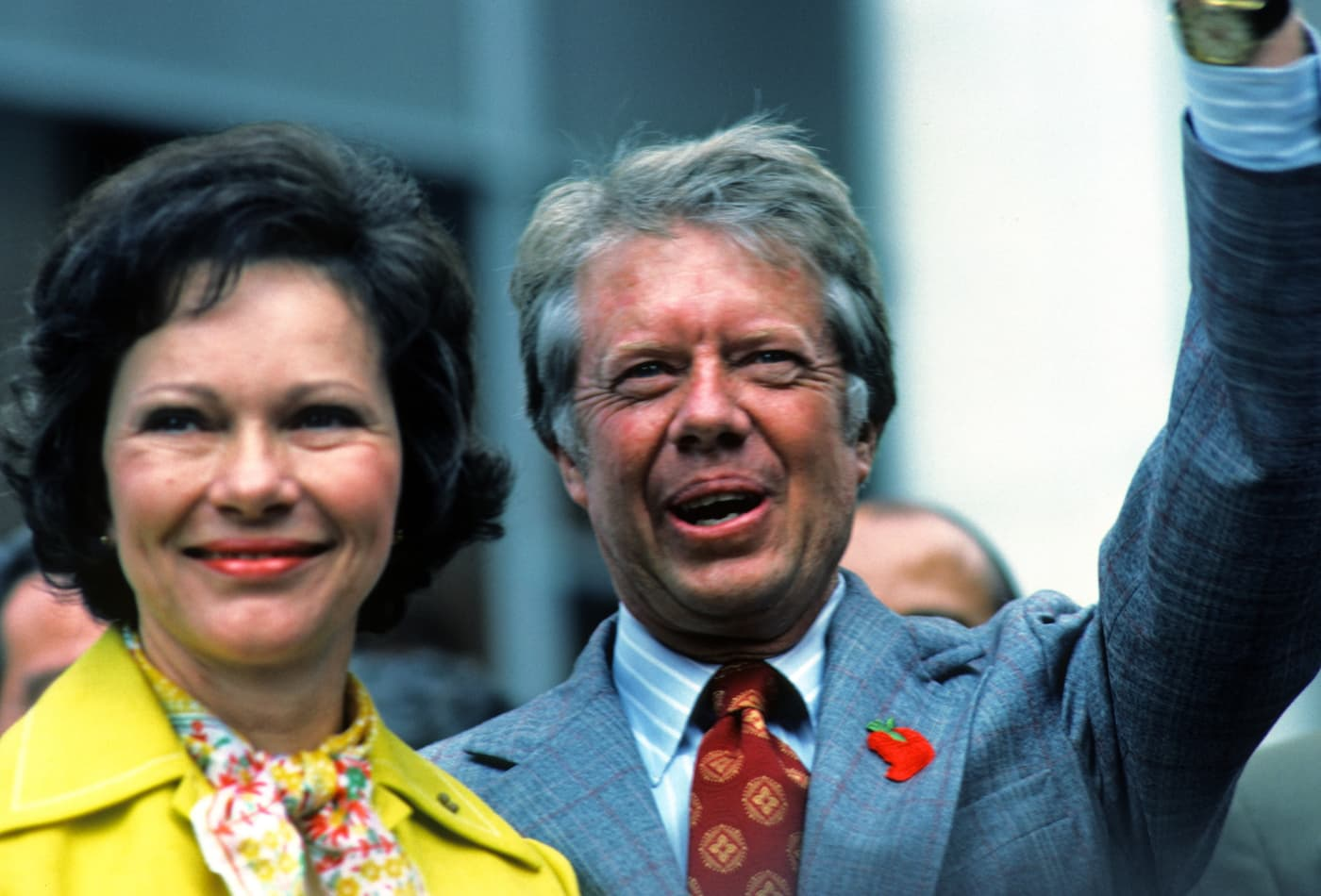 Jimmy and Rosalynn Carter speaking in New York on July 12, 1976