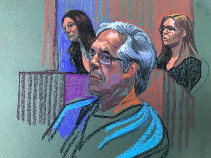 H/O: Jeffrey Epstein courtroom sketch bail hearing 190715 1