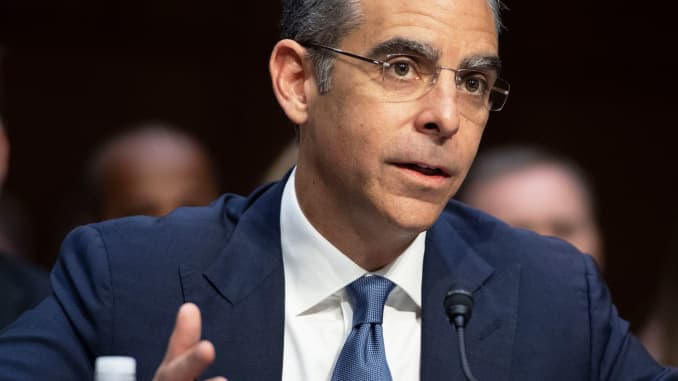 David Marcus, Head of Calibra at Facebook, testifies about Facebook's proposed digital currency called Libra, during a Senate Banking, House and Urban Affairs Committee hearing on Capitol Hill in Washington, DC, July 16, 2019.