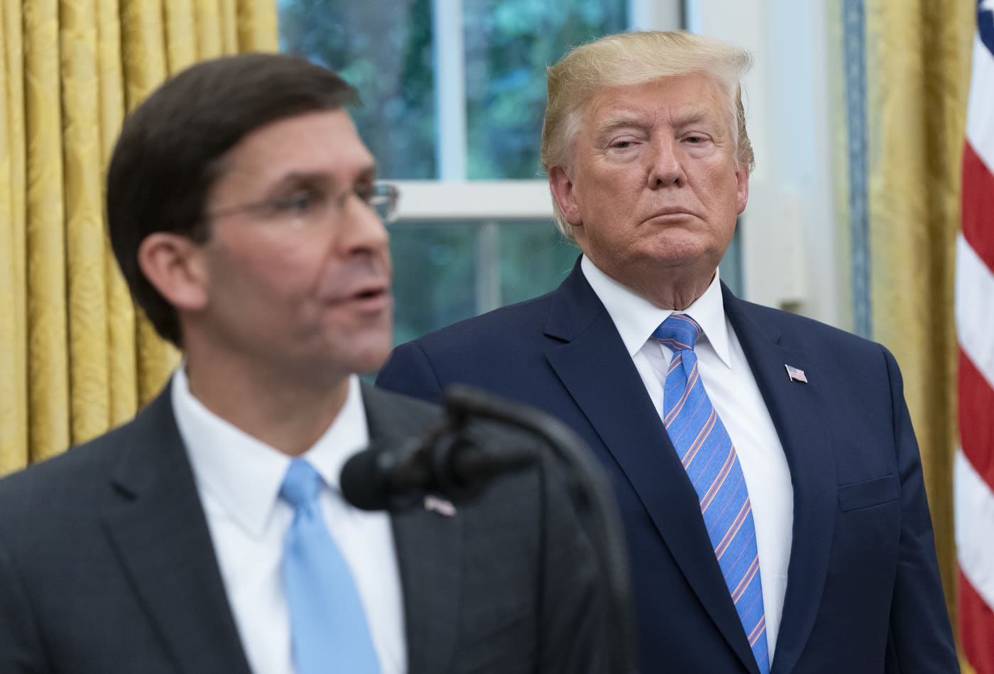 Esper is still Defense secretary 'as of right now,' White House says after reports say Trump was angry with him