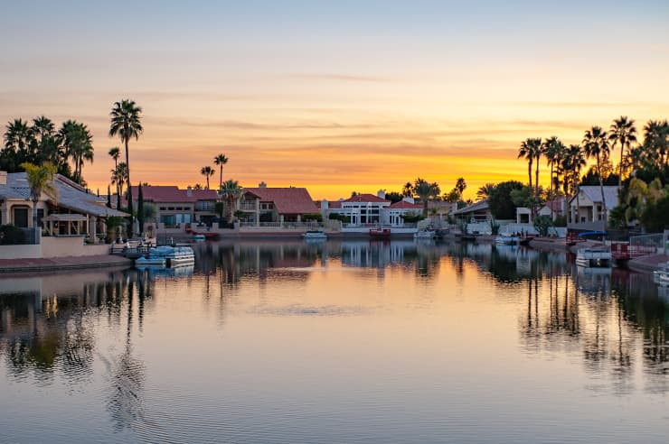 GP: Glendale Arizona Lake Houses At Sunset