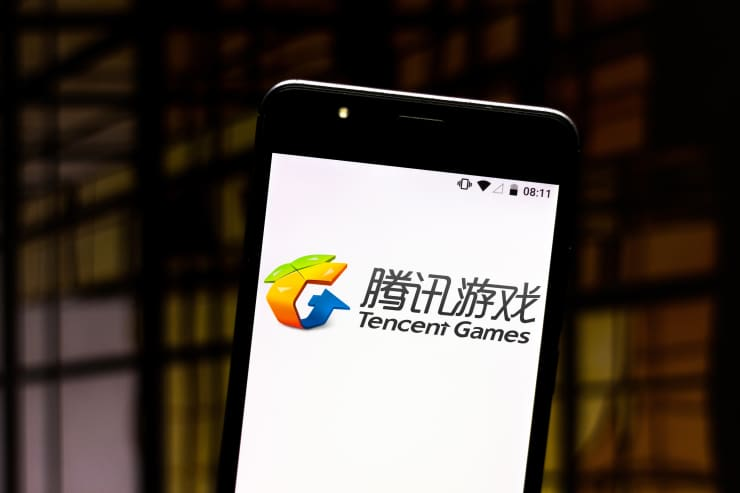 GP: In this photo illustration the Tencent Games logo is seen on a smartphone 190730