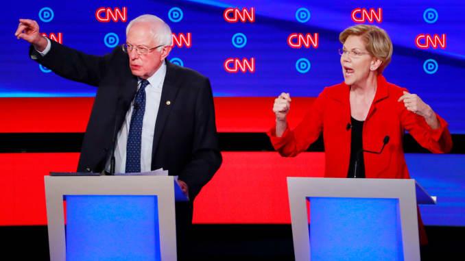 RT: Dems debate Detroit: Bernie Sanders and Elizabeth Warren 190730 1