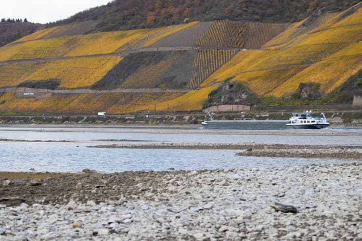 Premium: Ongoing Low Water Levels On Rhine River