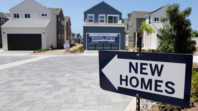 Newly constructed single family homes are shown for sale in Encinitas, California, July 31, 2019.