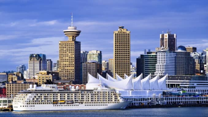 GP: Vancouver harbor and city skyline...