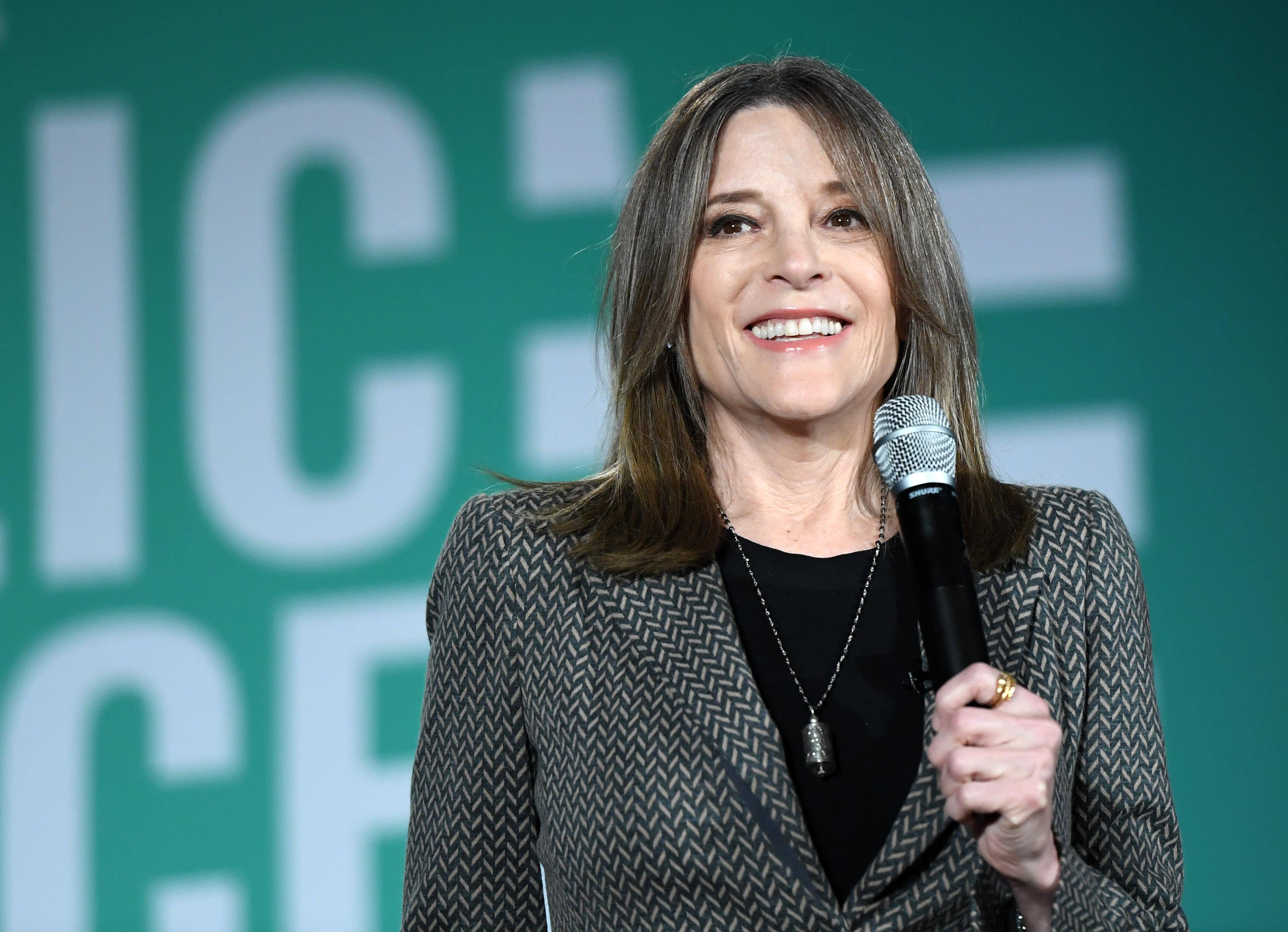 Presidential candidate Marianne Williamson, like opponent Andrew Yang, wants to give every adult $1,000 per month
