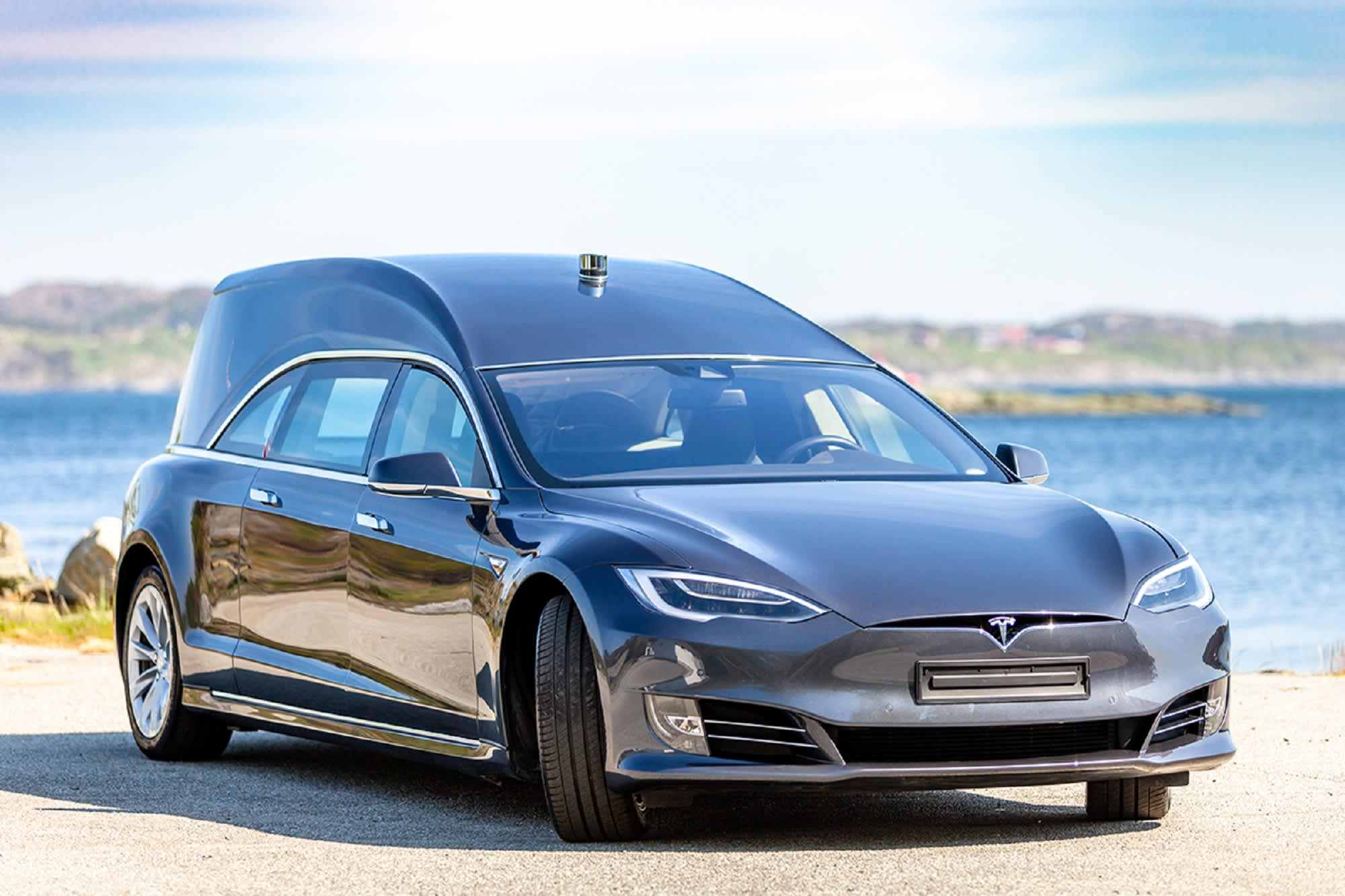 This Tesla Model S was converted into a hearse that costs ...