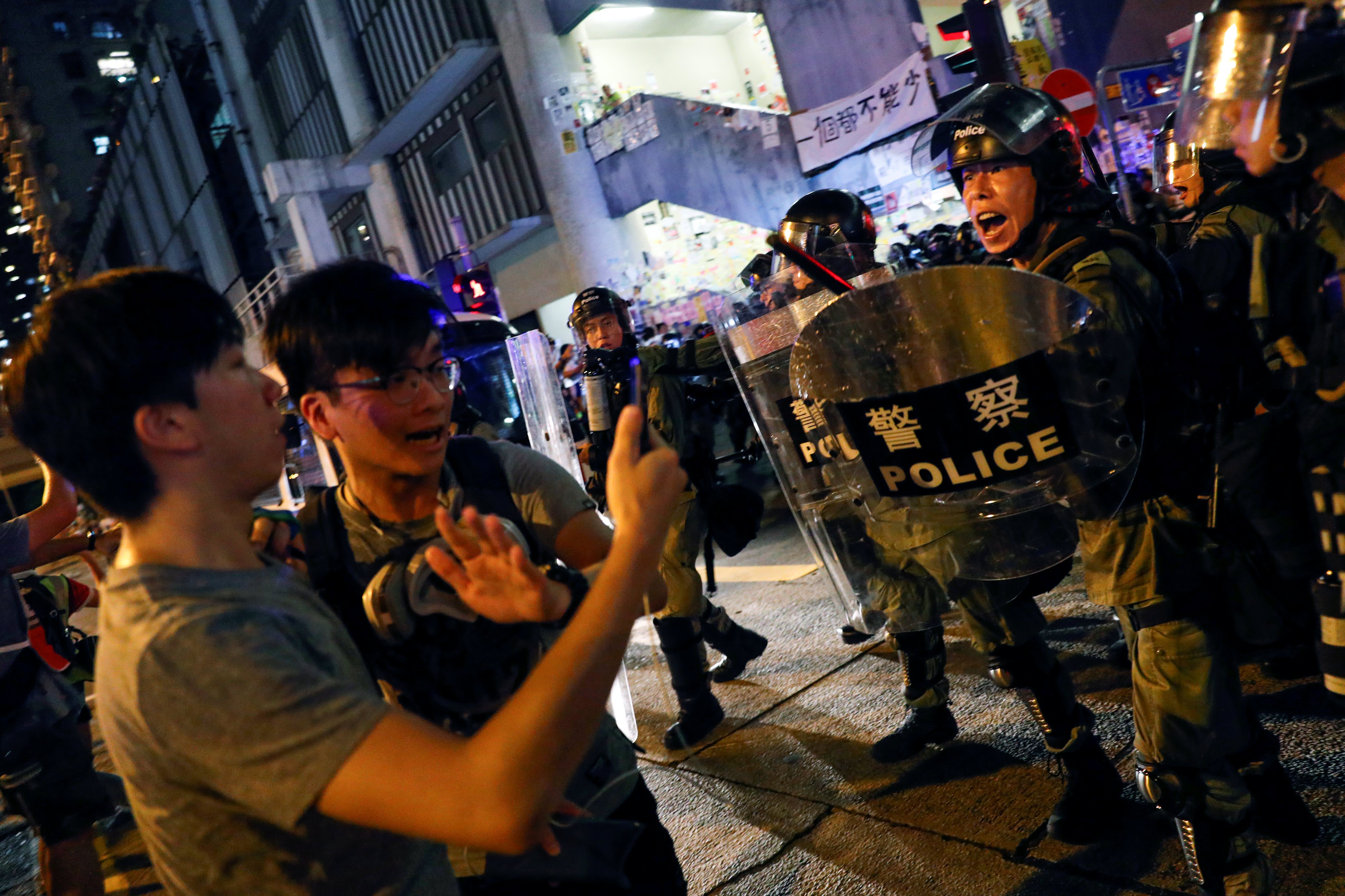 Protesters clash with police, chant 'liberate Hong Kong' as unrest continues for 10th week