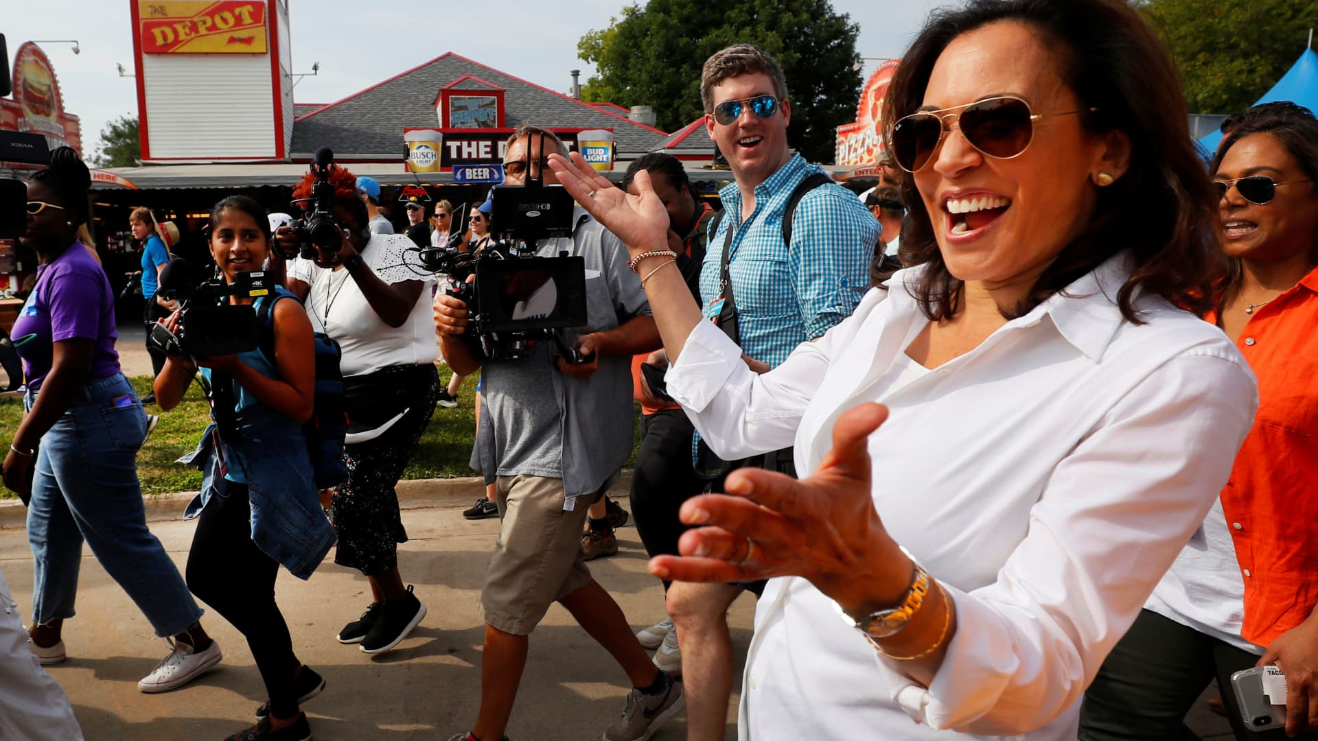 2020 U.S. Democratic presidential candidate and U.S. Senator Kamala Harris (D-CA) arrives at the Iowa State Fair in Des Moines, Iowa, August 10, 2019.