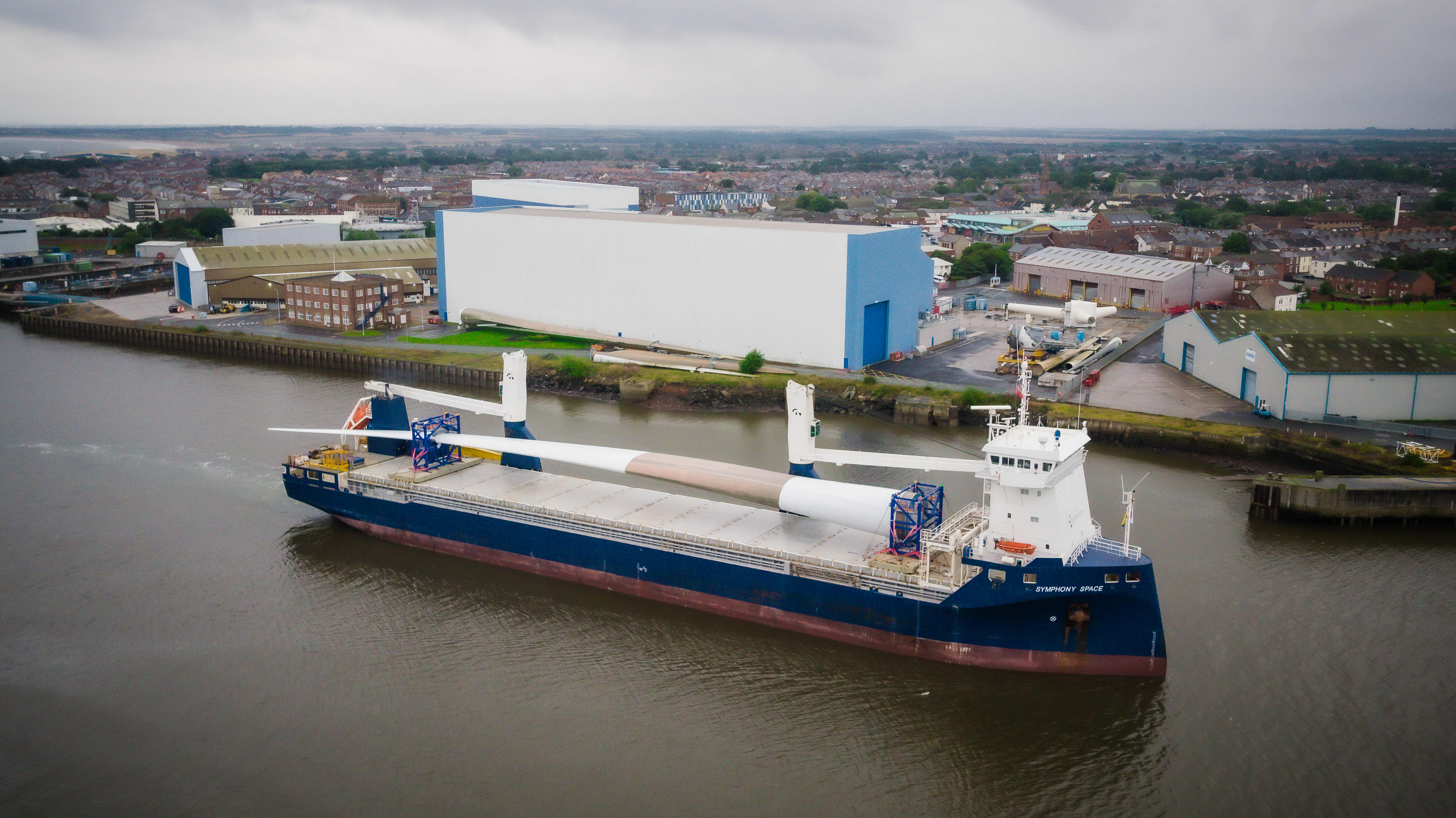 A huge wind turbine blade has arrived in the UK for testing
